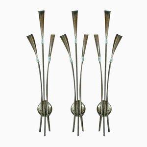 Italian Brass Wall Lamps by Oscar Torlasco, 1950s, Set of 3