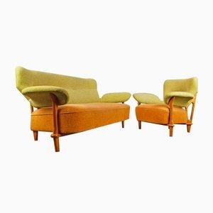 Conjunto de salón F109 con sillón y sofá a juego de Theo Ruth para Artiparat, 1950