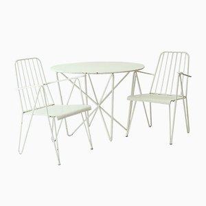 Juego de silla de jardín y mesa redonda austriaca vintage