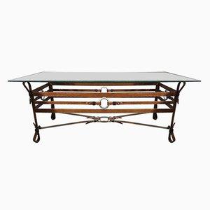 Table Basse Vintage en Fer Forgé et Cuir