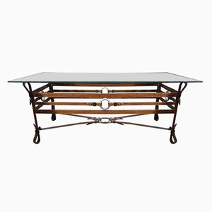 Vintage Wrougt Iron and Leather Coffee Table