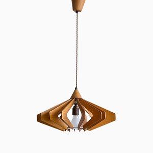 Lámpara colgante checa Mid-Century de madera