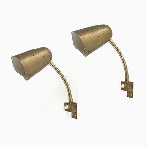 Lámparas de pared Mid-Century de latón de AWF, años 60. Juego de 2