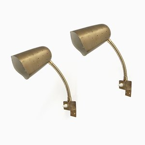 Mid-Century Brass Wall Lights from AWF, 1960s, Set of 2