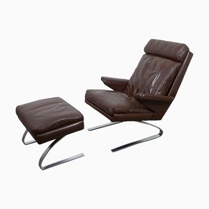 Mid-Century German Swing Lounge Chair with Ottoman by Reinhold Adolf for Cor, 1970s