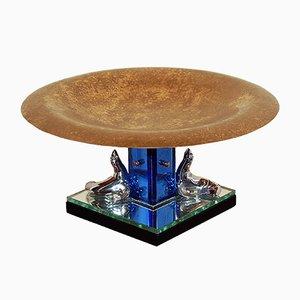 Milieu de Table Art Déco en Bronze et Verre Teinté de Buschi, 1930s