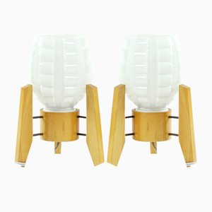Table Lamps in White Glass and Wood from Drevo Humpolec, 1960s, Set of 2
