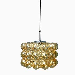 Lámpara vintage grande de cristal burbuja ámbar de Helena Tynell para Glashütte Limburg