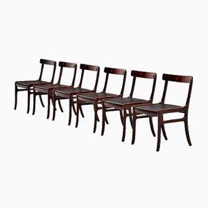 Dänische Rungstedlund Mahagoni Stühle von Ole Wanscher für Poul Jeppesen, 1950er, 6er Set