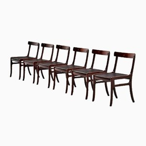 Danish Rungstedlund Mahogany Chairs by Ole Wanscher for Poul Jeppesen, 1950s, Set of 6