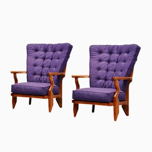 Fauteuils Mid-Century par Guillerme et Chambron, France, Set of 2