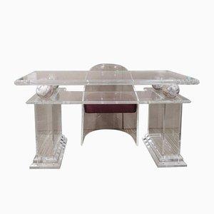 Mid-Century Lucite Schreibtisch mit Stuhl, 2er Set