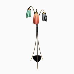Lampada da terra tripode in ottone e vetro, anni '50
