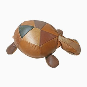 Large Decorative Leather Patchwork Turtle Cushion, 1970s