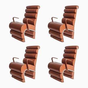 Vintage Le Queen Sessel aus Stahl & Leder, 4er Set