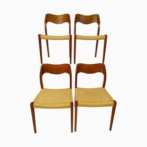Chaises de Salon Modèle 71 Vintage par Niels O. Møller pour J.L Møllers, Set de 4