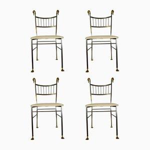 Chaises de Salon Swan Vintage en Laiton, Set de 4