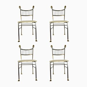 Vintage Brass Swan Dining Chairs, Set of 4