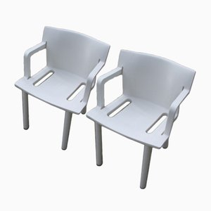 White Chairs by Anna Castelli Ferrieri for Kartell, 1980s, Set of 2