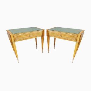 Mid-Century Italian Maple & Birch Nightstands, Set of 2