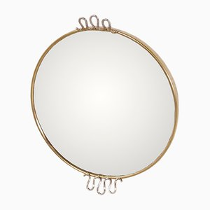 Round Swedish Mirror with Brass Frame by Josef Frank for Svenskt Tenn, 1950s