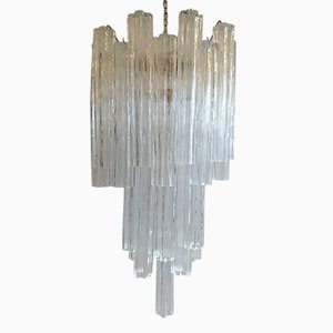 Lámpara de araña italiana grande de cristal de Murano de Tronchi de Toni Zuccheri para Venini