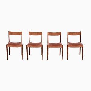 German Rosewood & Mohair Velvet Dining Chairs from Lübke, 1960s, Set of 4