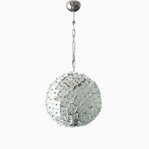 Lámpara colgante de vidrio y metal de Fontana Arte, años 60