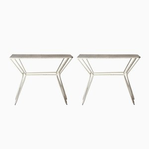 French Rectangular Perforated Side Tables, 1950s, Set of 2