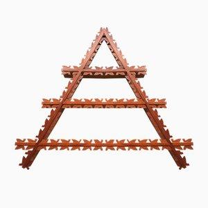 Étagère Mid-Century Triangulaire en Teck avec Détails de Feuilles, Danemark