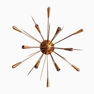 Italienische Messing Sputnik Lampe, 1950er