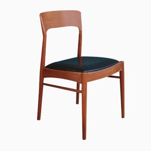 Vintage Danish Teak Chair with Curved Backrest, 1960s