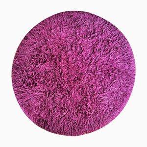 Runder Purpurfarbener Teppich, 1970er