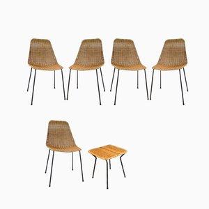 Chaises de Salon & Tabouret en Osier par Gian Franco Legler pour Pierantonio Bonacina, 1950s, Set de 6