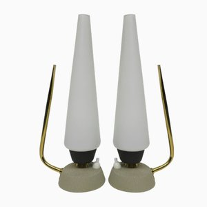 Italian Opaline Glass & Brass Bedside Lamps, 1950s, Set of 2