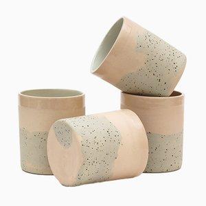Tazze in ceramica rosa e a puntini di Maevo, 2017, set di 4