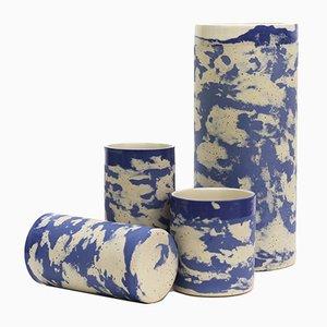 Bicchieri alti in ceramica blu e a puntini di Maevo, 2017, set di 2