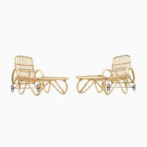 Chaises de Jardin en Bambou et Rotin, 1950s, Set de 2