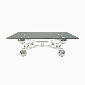 Large French Chrome Ball Coffee Table, 1970s