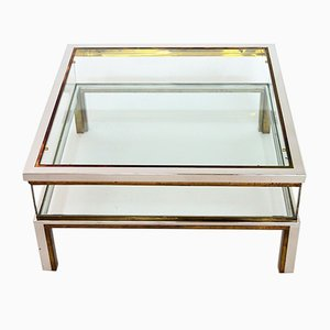 French Brass & Chrome Coffee Table with Sliding Top Compartment, 1970s