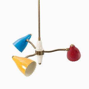 Italienische Mid-Century Messing Deckenlampe