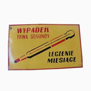 Señal de advertencia de fábrica industrial polaca vintage