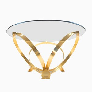 Tavolino da caffè vintage in ottone e vetro fumé di Knut Hesterberg