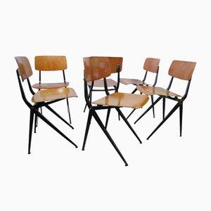 Industrielle Mid-Century Stühle aus Stahl & Holz von Marko, 6er Set