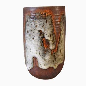 Jarrón marrón con ligero esmalte de Jørgen Mogensen, años 60