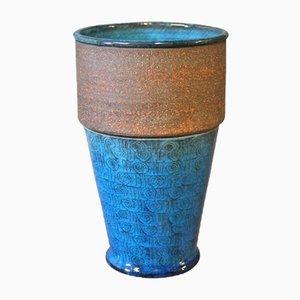 Jarrón de cerámica vidriada azul marino de Niels Kähler, años 60