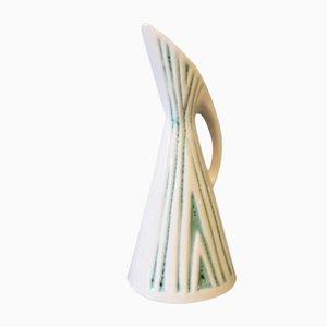 Jarra de cerámica blanca y turquesa de Michael Andersen and Son, años 60