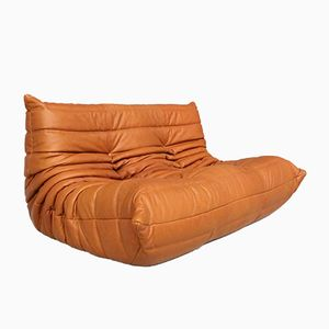 Vintage Togo Cognac Leather Two-Seater Sofa by Michel Ducaroy for Ligne Roset