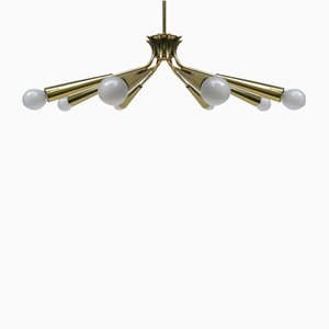 Italian Eight-Light Sputnik Brass Ceiling Light, 1950s