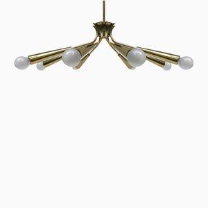 Italienische Sputnik Messing Deckenlampe mit Acht Leuchten, 1950er